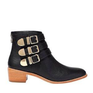 Loeffler Randall Fenton Leather Buckle Ankle Boots